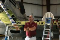 Gary views the Twin Mustang restoration project
